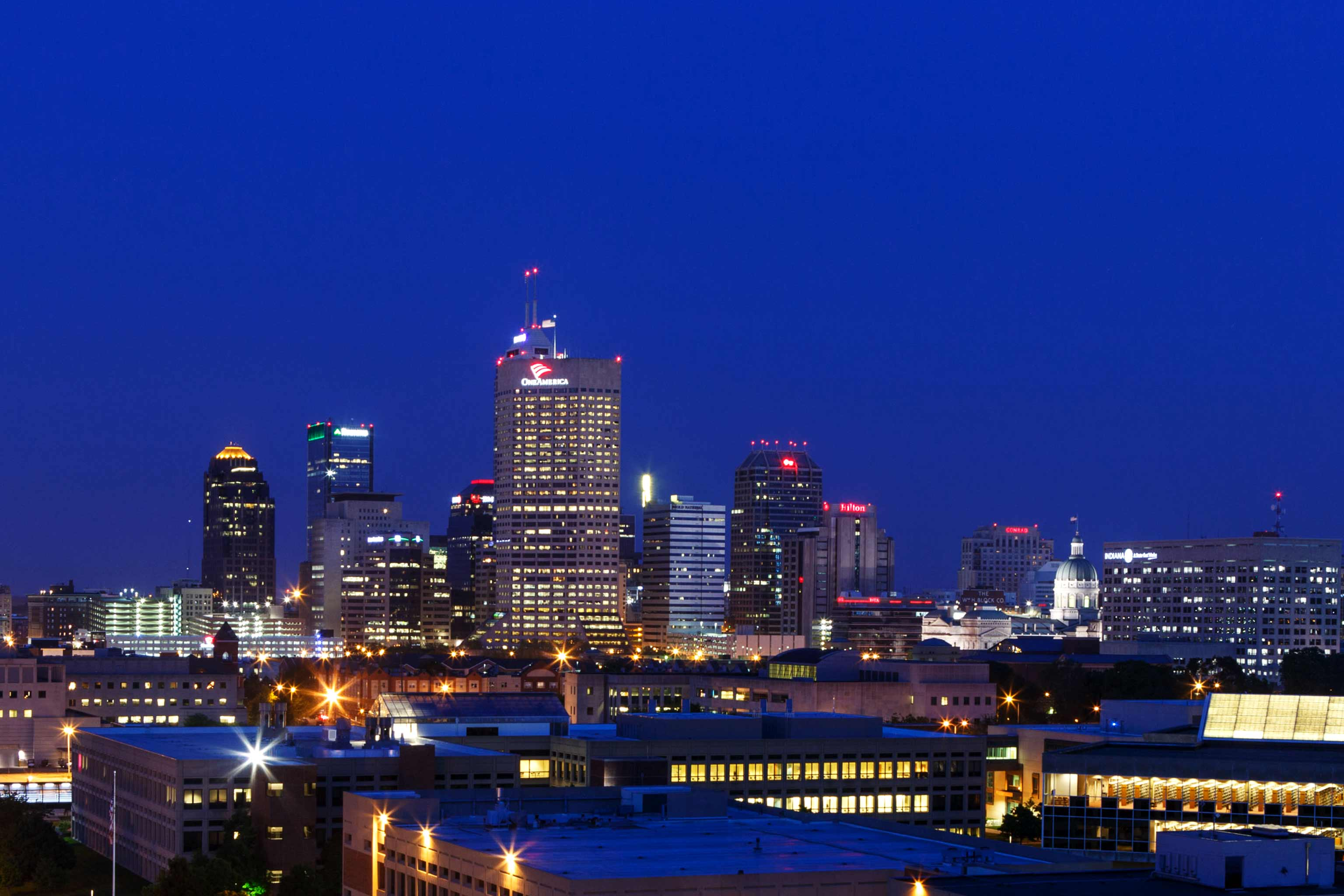 The Indianapolis skyline in the evening