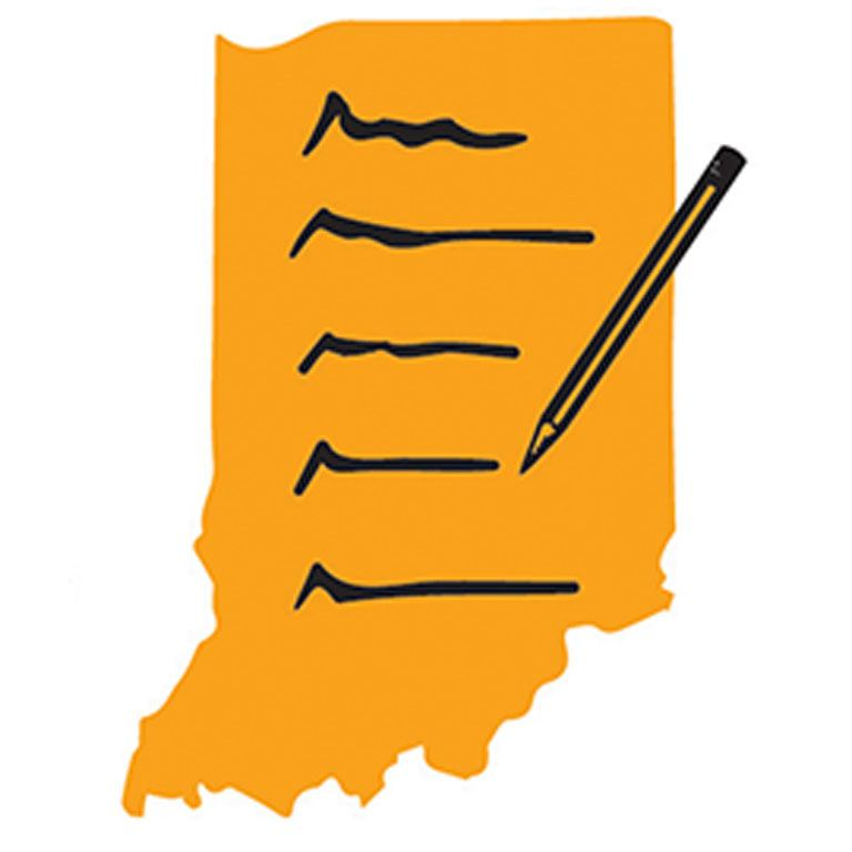 Logo for Indiana Prison Writers Workshop, state of Indiana with a pencil